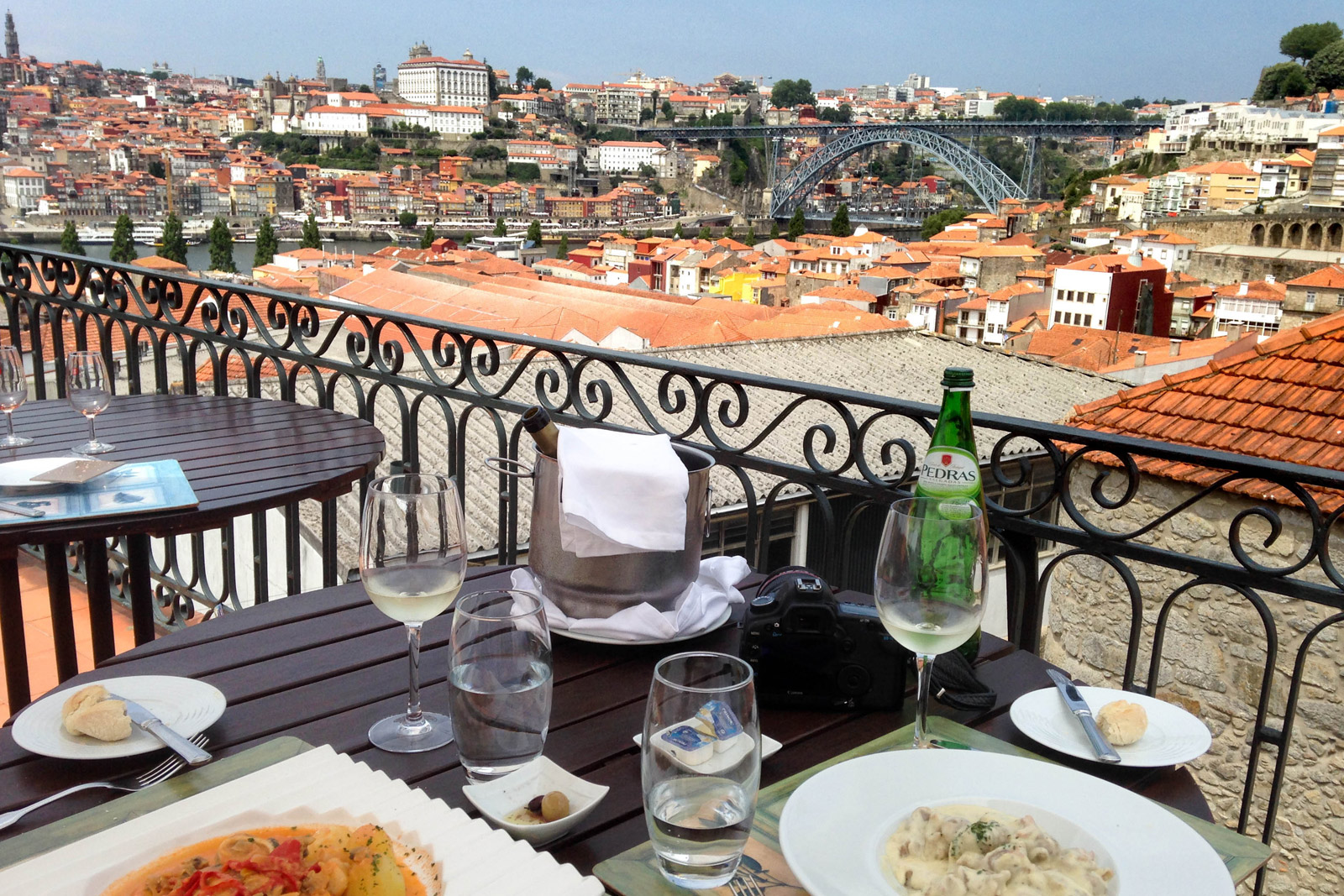 Lunch on a rooftop terrace overlooking Porto