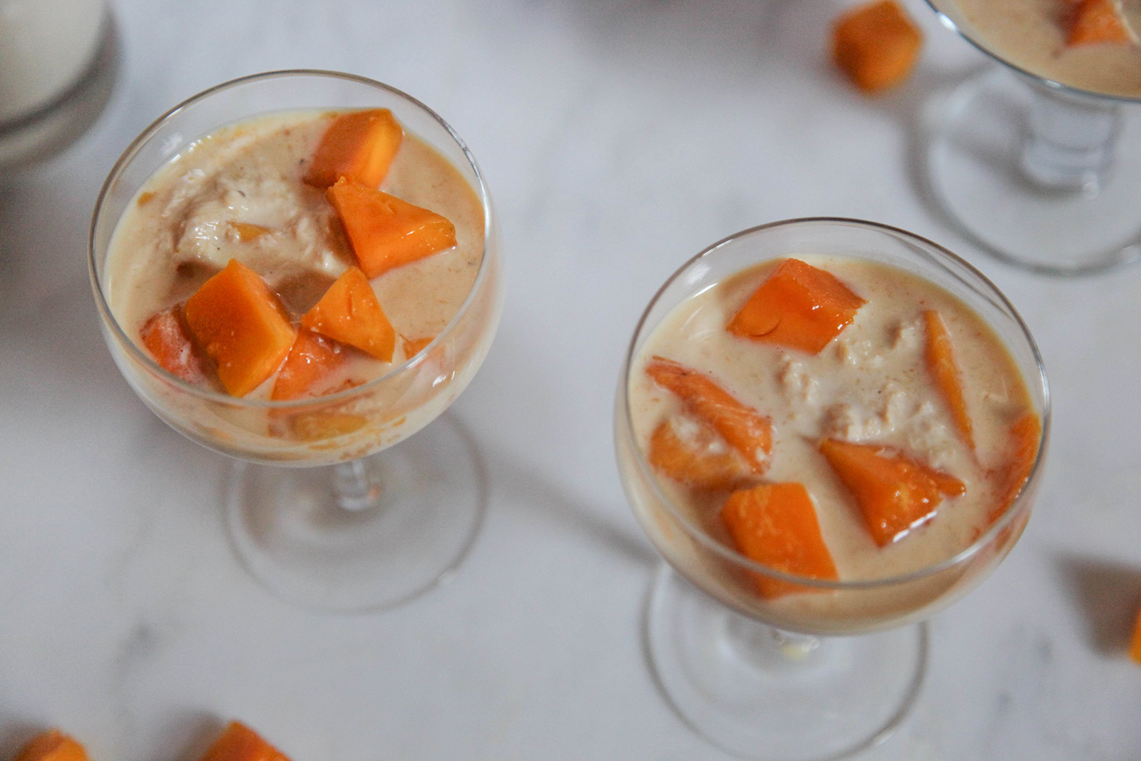 Simple heavenly dessert of sweet mango in creamy milk