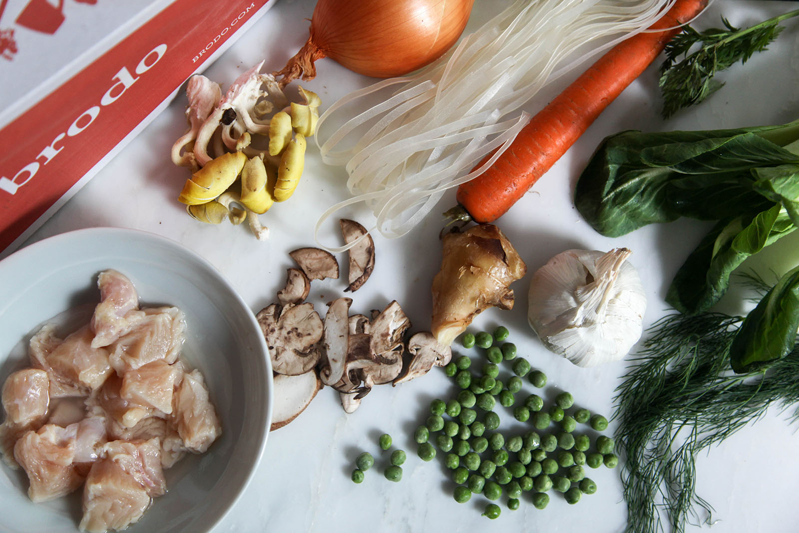 Ingredients for Easy Nutritious Chicken Vegetable Soup with Noodles in Bone Broth. Have it to treat covid-19 at home.