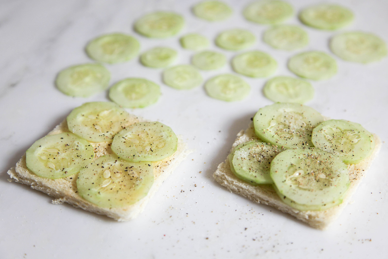 assembling cucumber sandwich