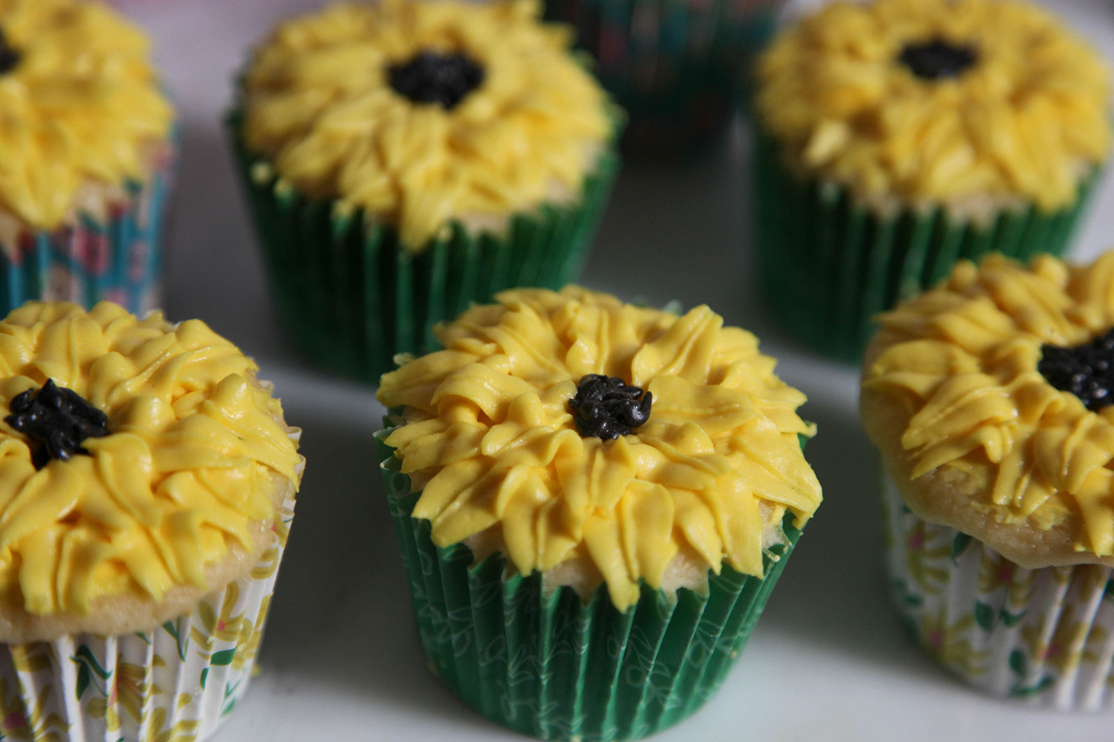 moist fluffy cupcakes with buttercream sunflower decoration