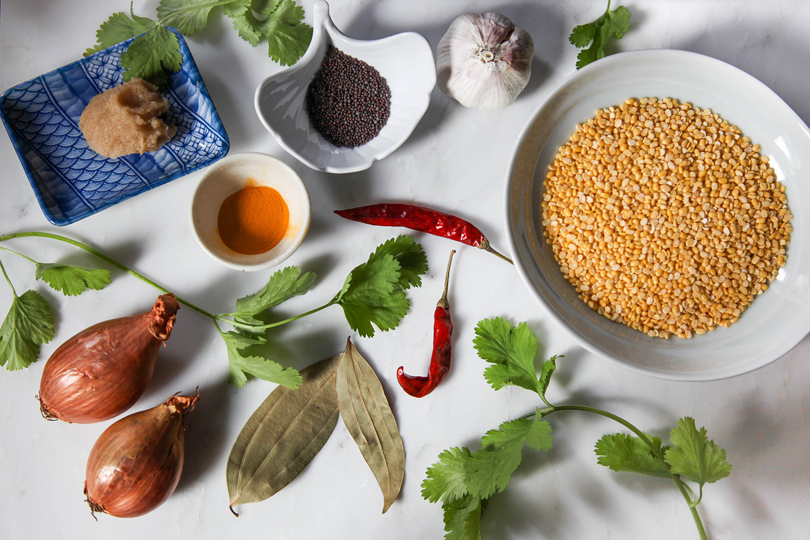 Ingredients for Golden Yellow Dal (Lentil Soup) with Turmeric, Garlic, Cilantro