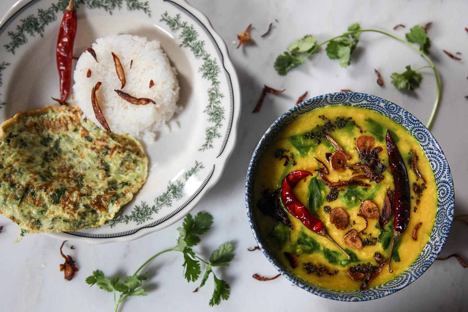 Golden Yellow Dal (Lentil Soup) with Turmeric, Garlic, Cilantro