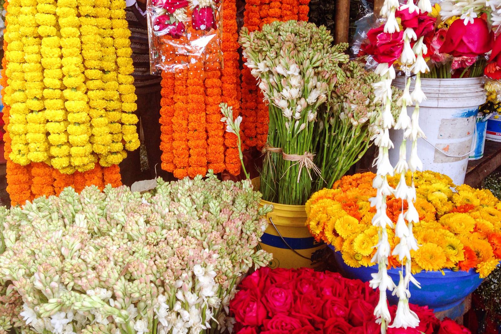Flower stall in open-air market in Bangladesh
