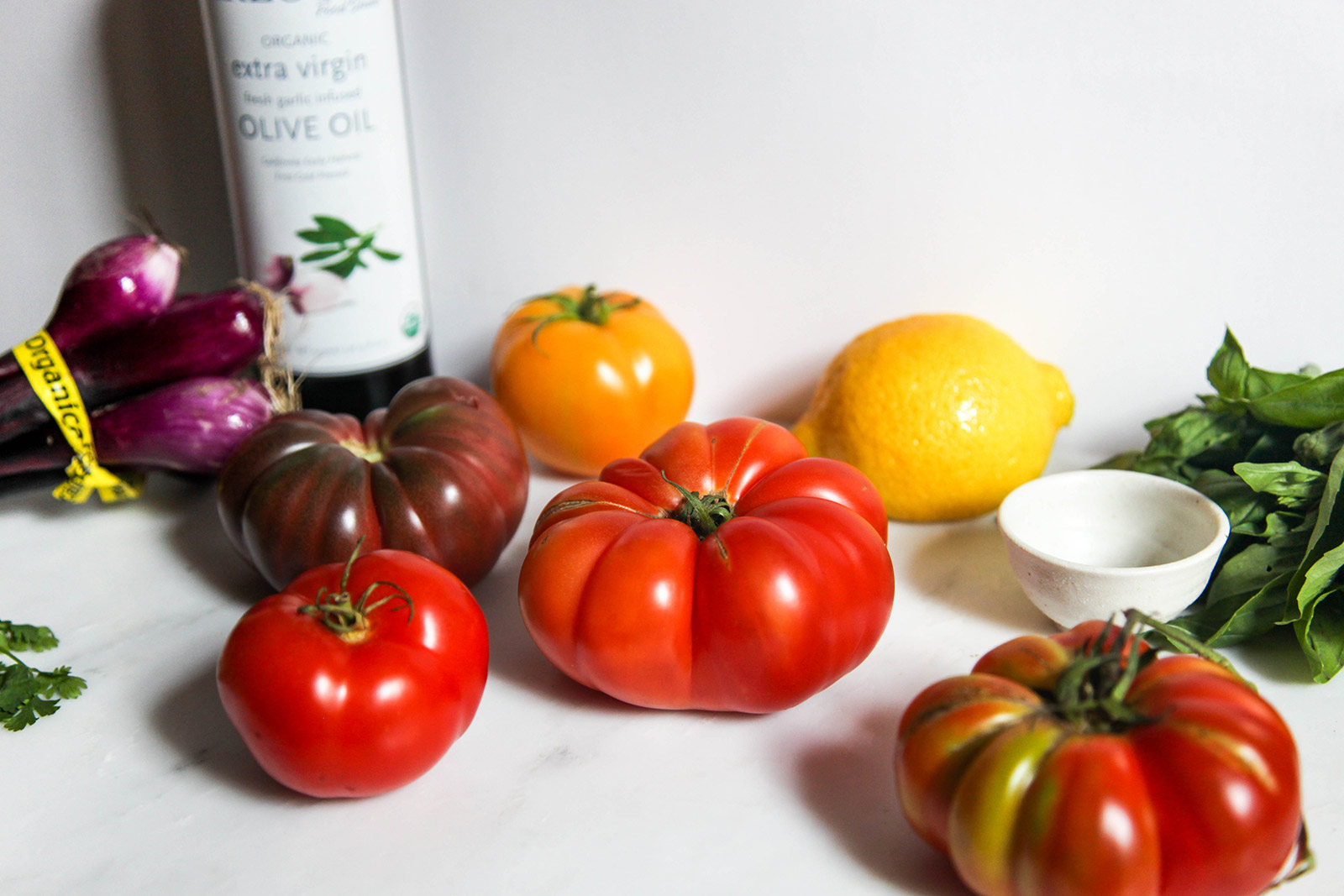Ingredients for Portuguese-inspired Heirloom Tomato Salad