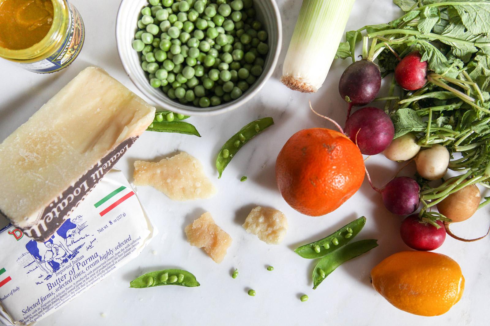Ingredients for Spring Pea Salad with Leeks, Radish, Citrus Zest and Aged Parmigiano-Reggiano & Pecorino-Romano Cheeses