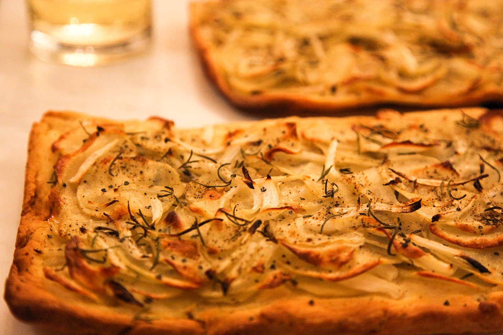 potato pizza with fresh rosemary, olive oil & sea salt