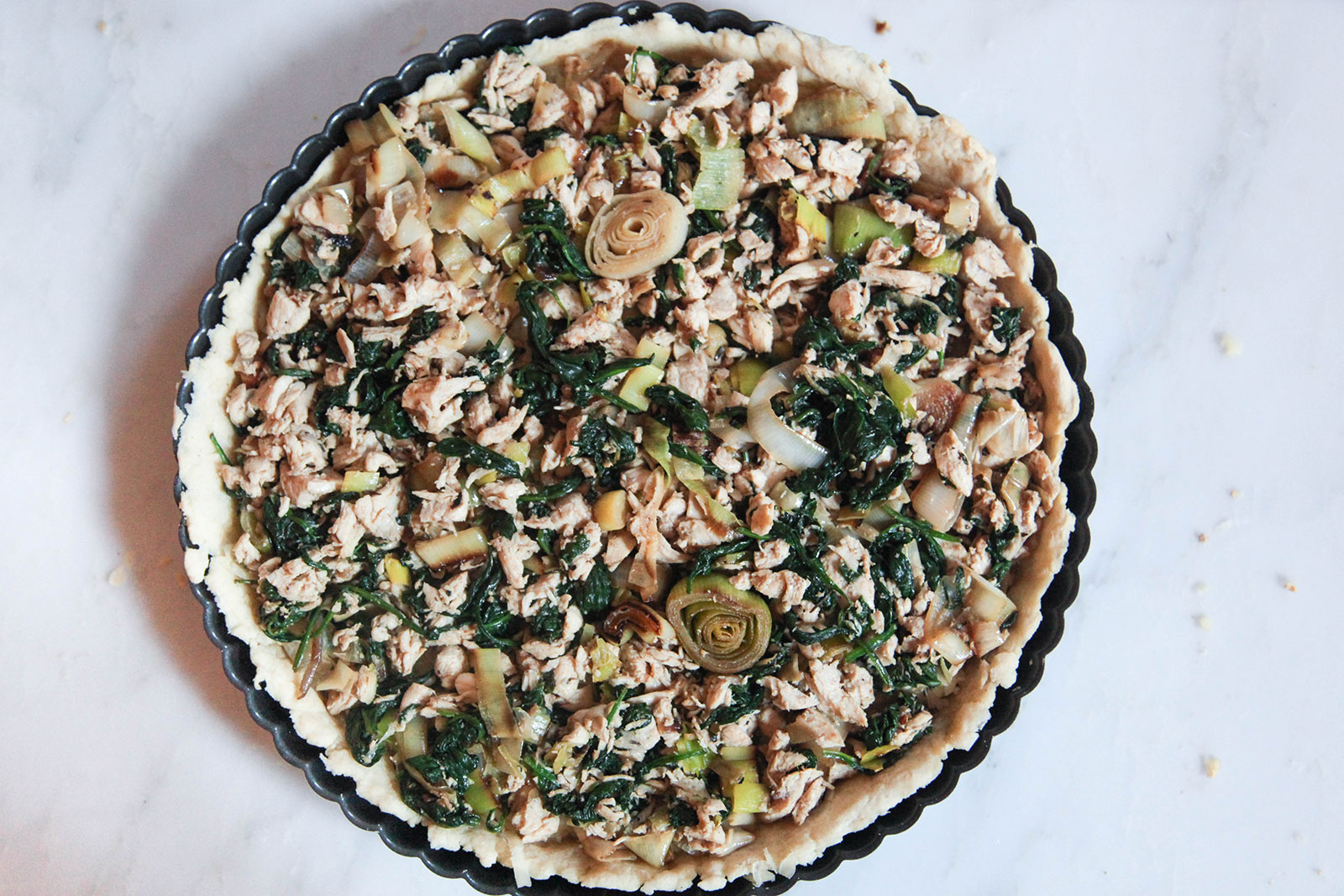 Quiche with vegetable and chicken filling