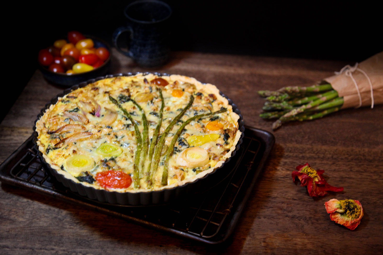 Quiche with Leeks, Asparagus, Baby Spinach, and Shredded Chicken