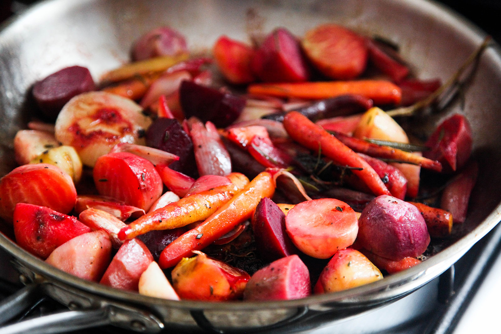 Roasted Root Vegetables with Herbs. Recipe on KitchenGatherings.com