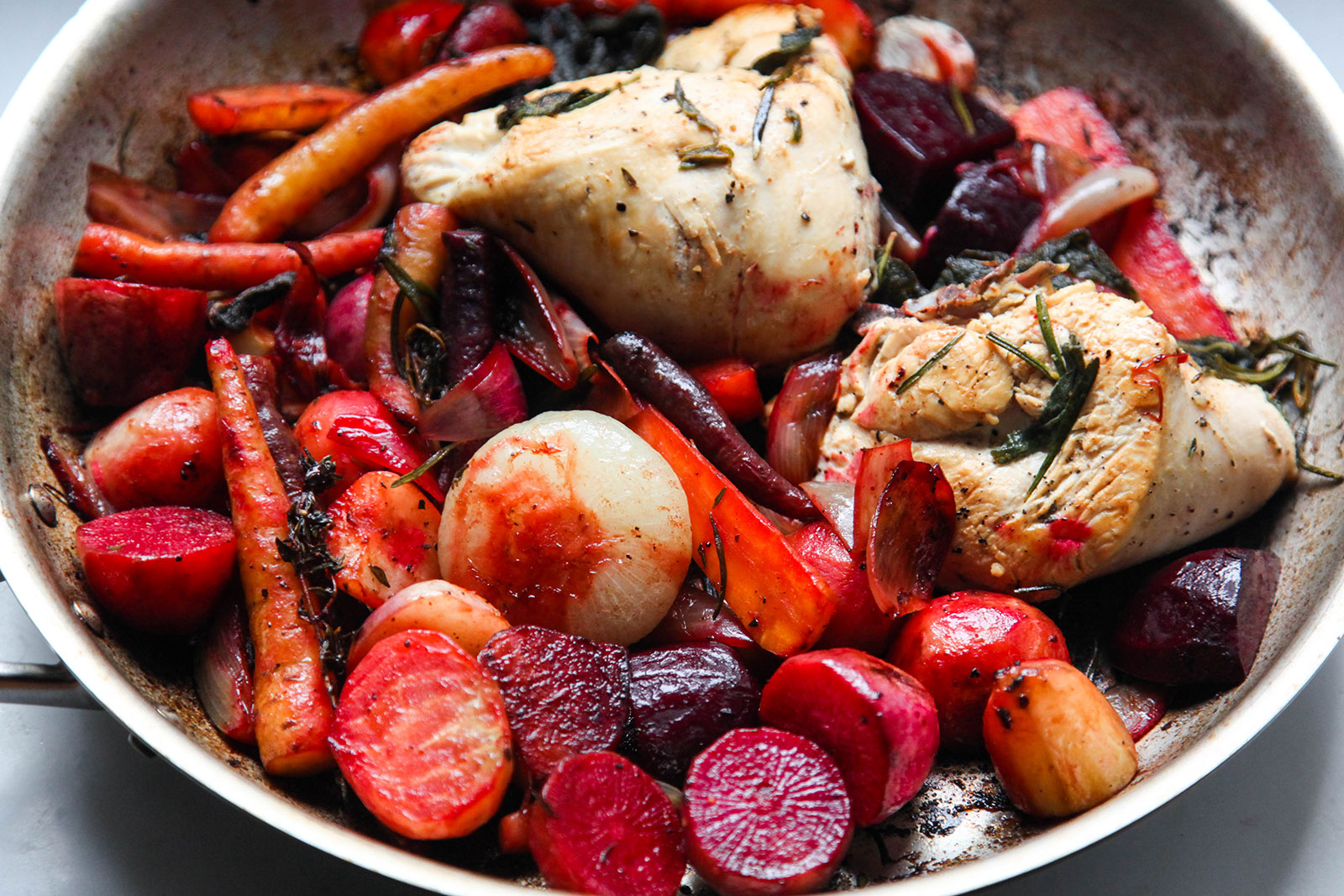 Roasted Root Vegetables & Chicken with Sage, Thyme, Rosemary