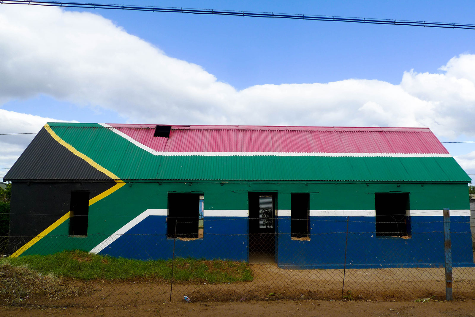 house with South African flag