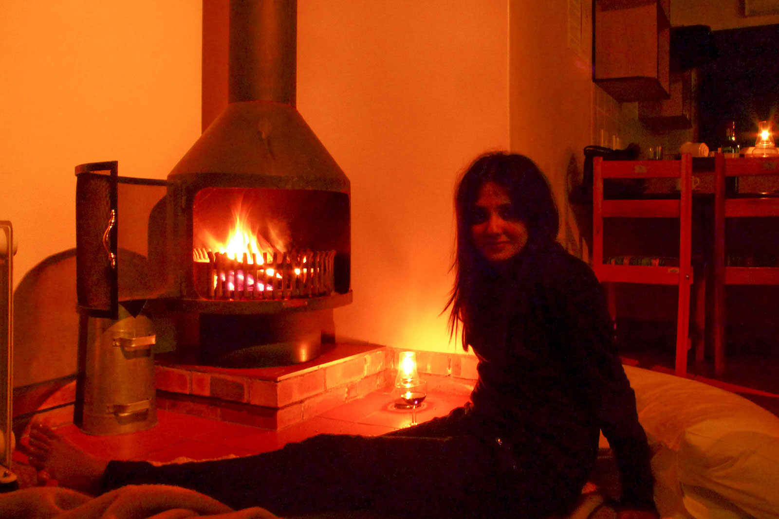i was warming up by the fireplace, at one of the places we stayed at