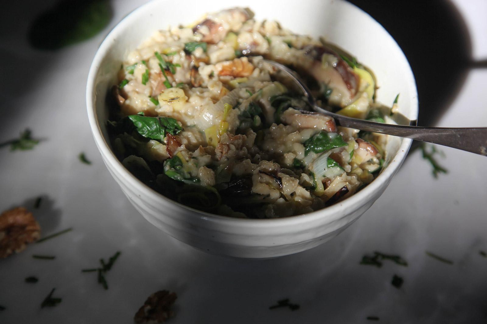 Savory Oatmeal with leeks, shiitake mushrooms, and spinach