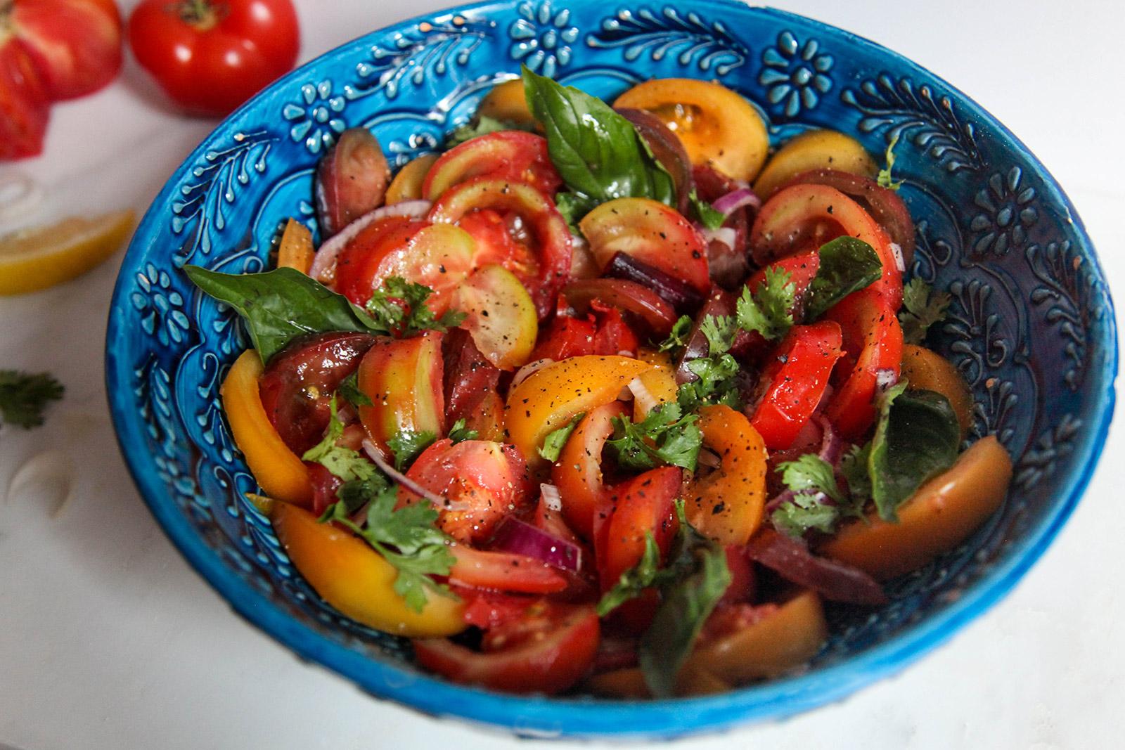 Simple Heirloom Tomato Salad, Portuguese-inspired