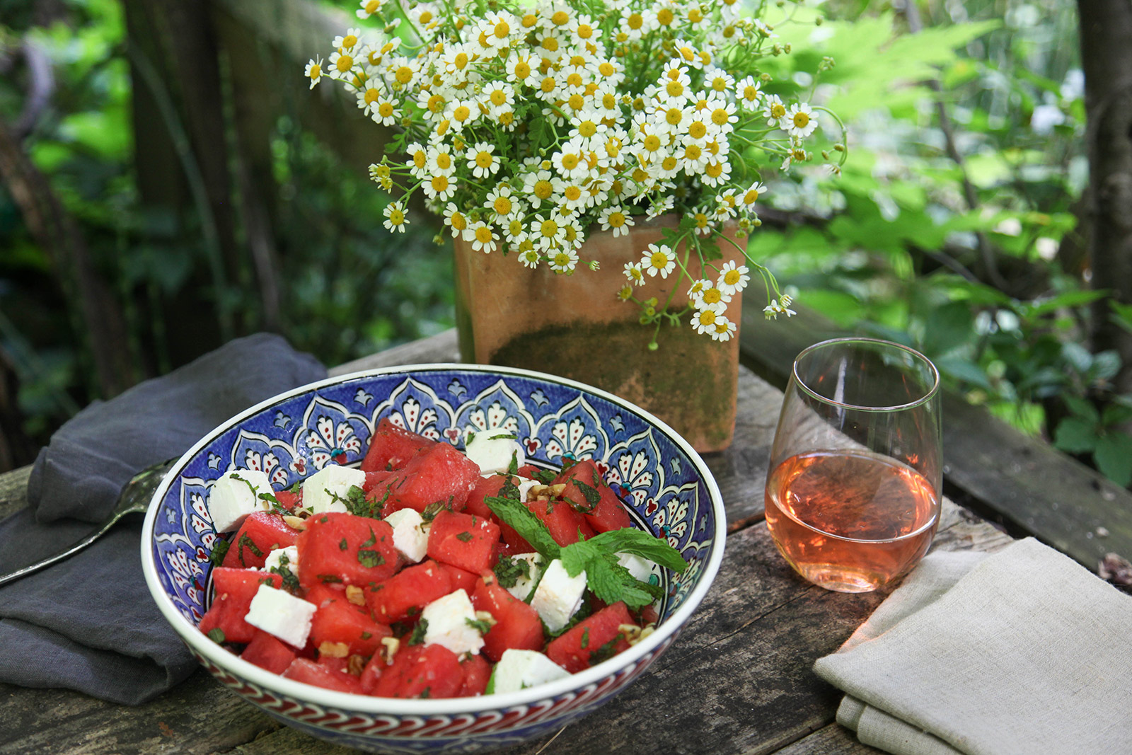 Watermelon Salad with Mint, Feta, Walnuts & a Little Bit of Spicy Kick