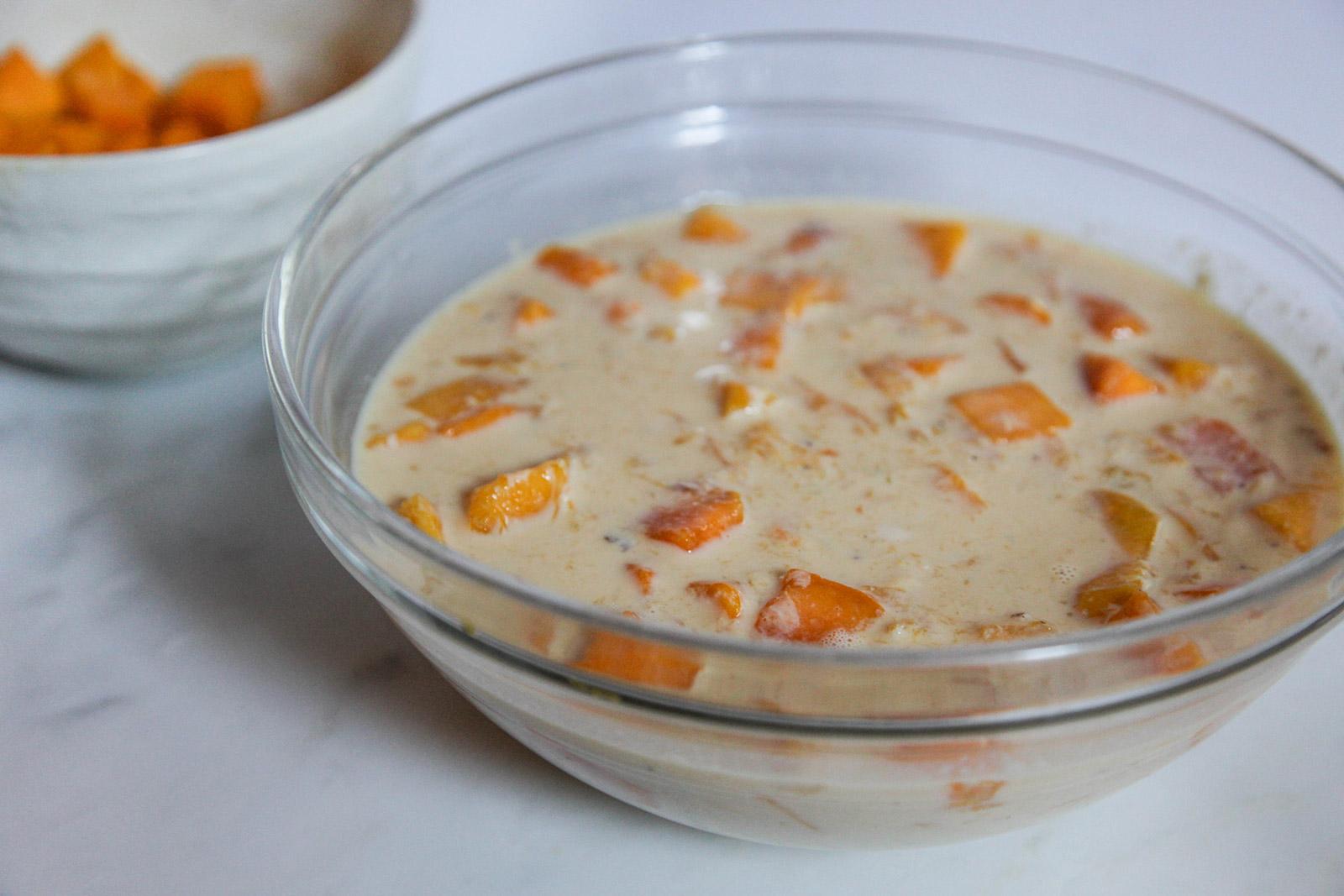 Simple heavenly dessert of sweet mango in thick creamy milk