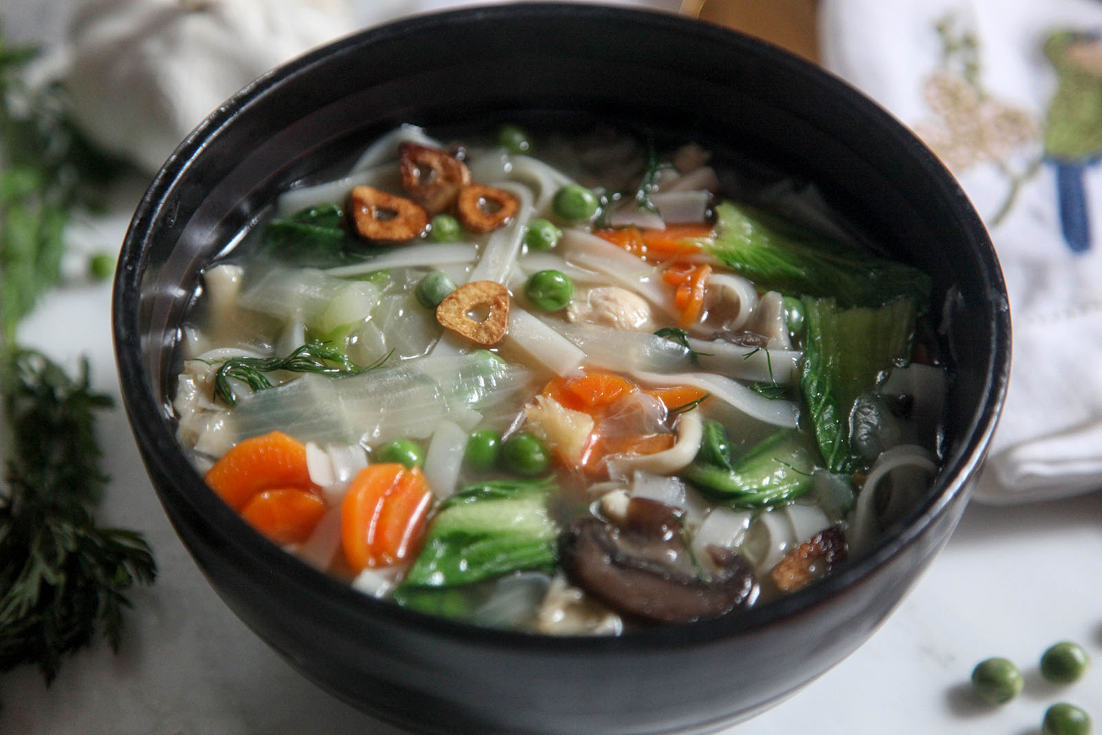 Easy Nutritious Chicken Vegetable Soup with Noodles in Bone Broth. Have it to treat covid-19 at home.