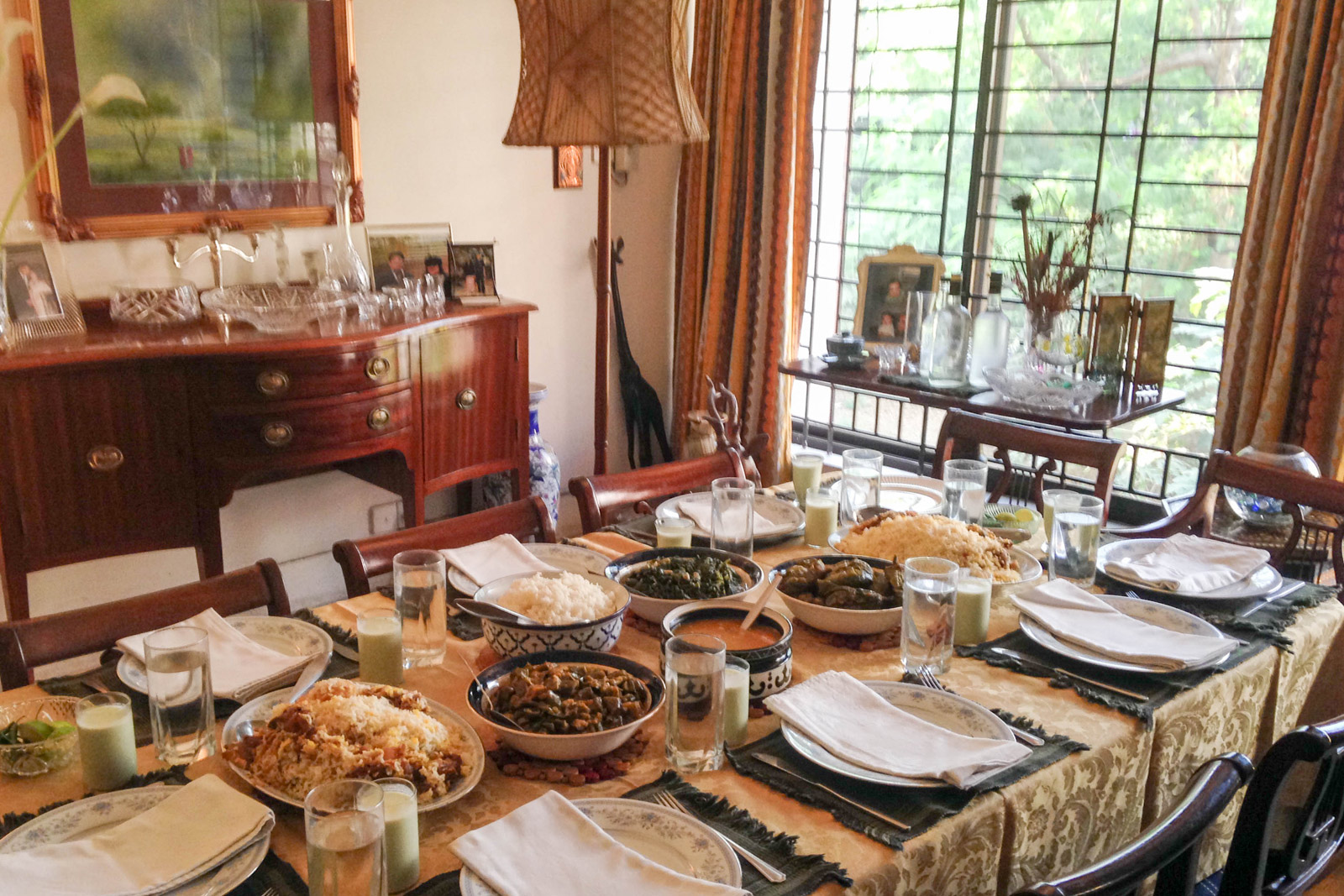 Our dining table laid out for lunch, when guests were joining us.